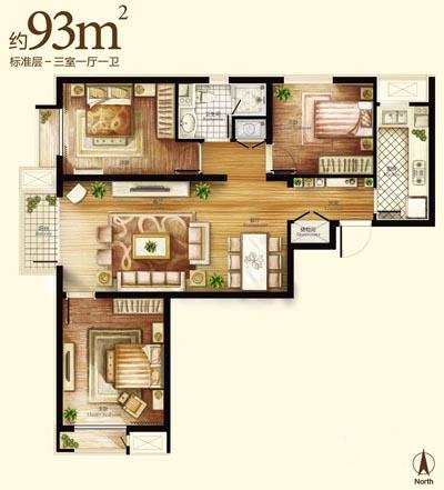 长方形三房一厅一厨一卫设计图-7月24日,中粮万科·长阳半岛开盘,均价